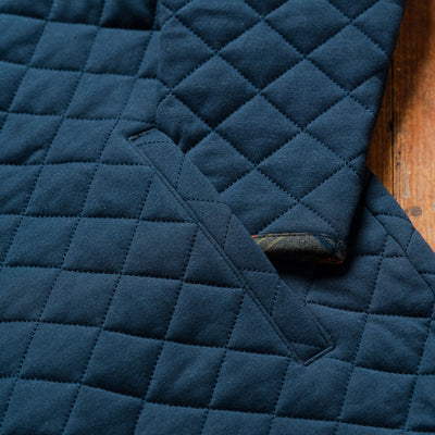 Men's Concord Navy Quilted Pullover with Flannel Trim