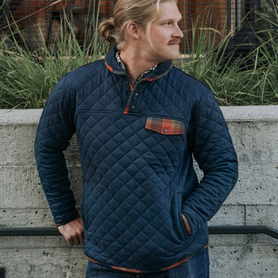 Men's Concord Navy Quilted Pullover with Flannel Trim hover