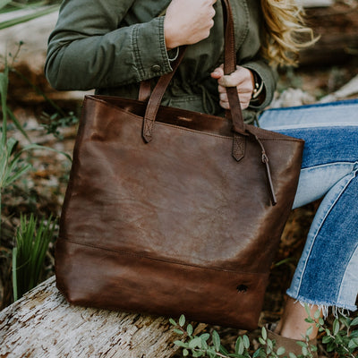 Madison Leather Tote | Dark Hazelnut hover