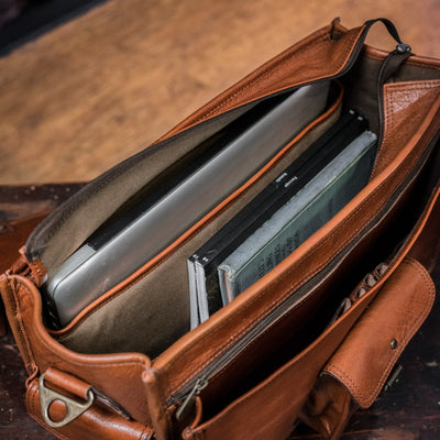 Vintage Leather Briefcase Bag | Amber interior