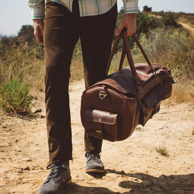 Vintage Leather Travel Duffle Bag | Dark Oak