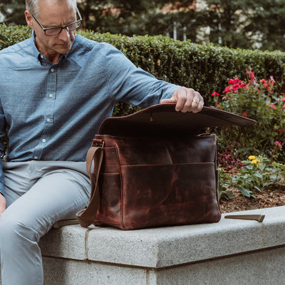 Modern Leather Satchel Messenger Bag - Large | Dark Oak
