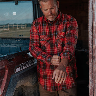 Men's Tough pearl snap work flannel