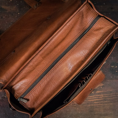 Roosevelt Buffalo Leather Briefcase Bag | Amber interior