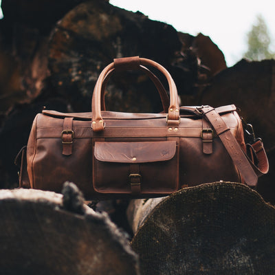 Classic Leather Travel Duffle Bag | Dark Oak