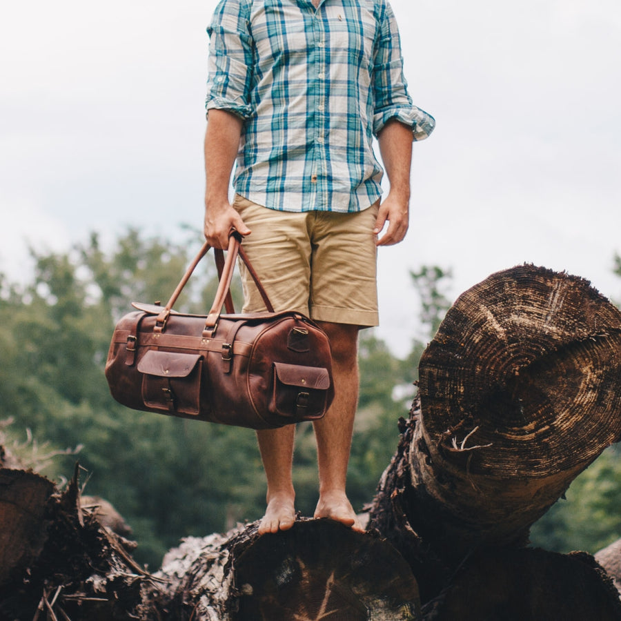 Vintage Leather Travel Duffle Bag | Dark Oak front
