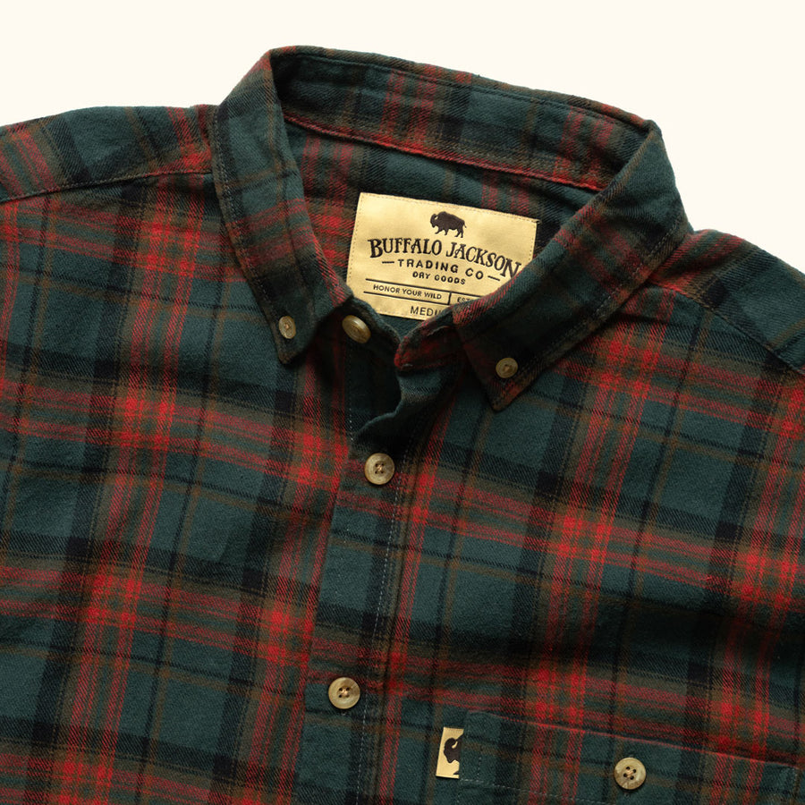 Men's Rugged Flannel Shirt Woodsman Plaid