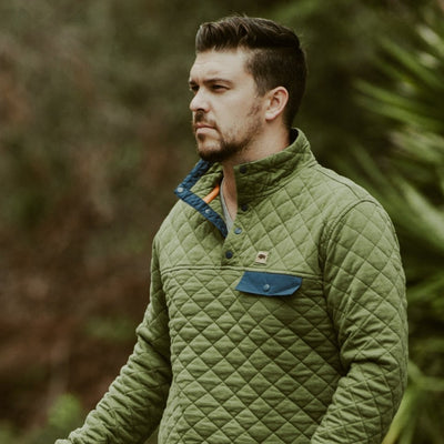Men's Cannon Quilted Pullover - Acadia Green hover