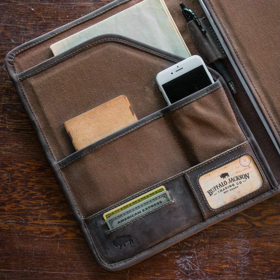Elkton Waxed Canvas Padfolio | Brown w/ Dark Walnut Leather