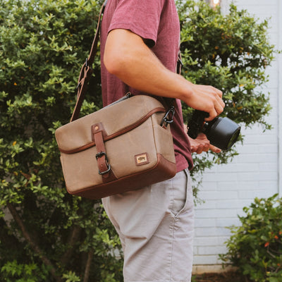 Dakota Waxed Canvas Camera Bag | Field Khaki w/ Chestnut Brown Leather hover