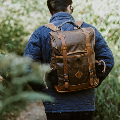 Men's Waxed Canvas Travel Backpack | Russet Brown w/ Saddle Tan Leather hover