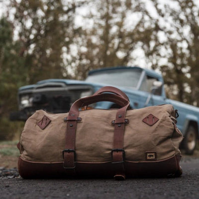 Rugged Canvas Duffle Bag/Backpack | Field Khaki w/ Chestnut Brown Leather