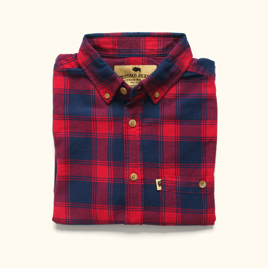Men's Rugged Fairbanks Flannel Shirt Cabin Red