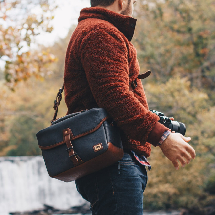 Dakota Waxed Canvas Camera Bag | Navy Charcoal w/ Chestnut Brown Leather