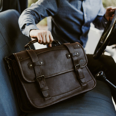 Vintage Travel Leather Briefcase | Dark Briar