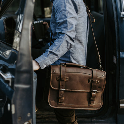 Rugged Leather Briefcase | Dark Briar hover