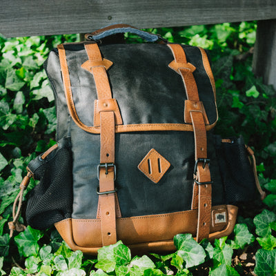 Outdoors Waxed Canvas Backpack | Navy Charcoal w/ Saddle Tan Leather