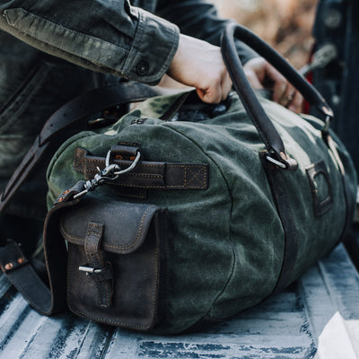 Elkton Waxed Canvas Travel Duffle Bag | Green w/ Dark Walnut Leather hover
