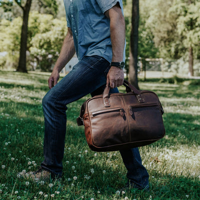 Men's Classic Leather Pilot Bag | Vintage Oak