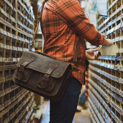 Denver Leather Briefcase | Limited Edition - Dark Walnut w/ Orange Stitching hover