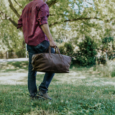 Modern Leather Weekend Bag | Vintage Oak