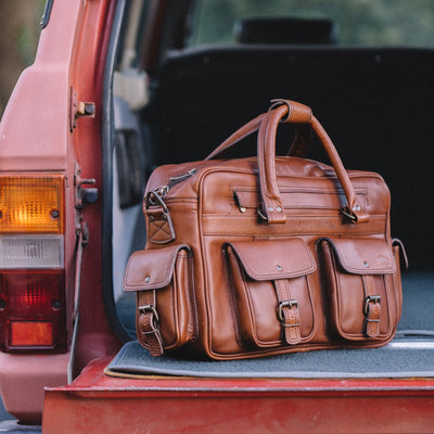 Rugged Buffalo Leather Pilot Bag | Amber