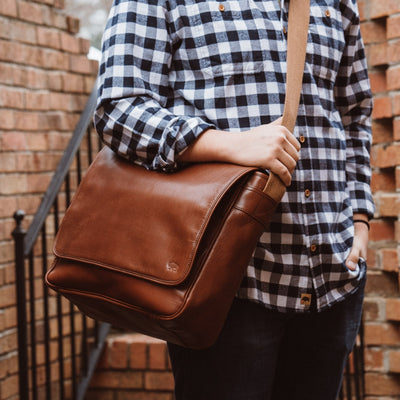 Roosevelt Buffalo Leather Satchel Messenger Bag | Amber hover