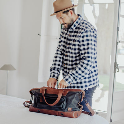Dakota Waxed Canvas Weekend Bag | Navy Charcoal w/ Chestnut Brown Leather hover