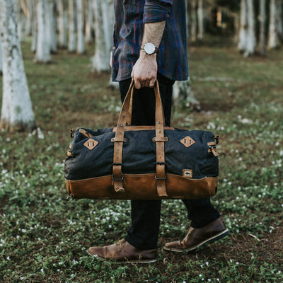 Vintage Canvas Duffle Bag/Backpack | Navy Charcoal w/ Saddle Tan Leather hover