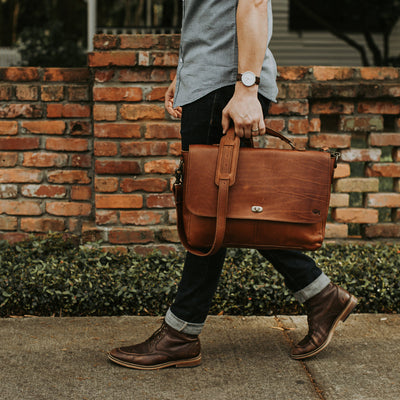 Best Leather Travel Laptop Messenger Bag | Autumn Brown hover