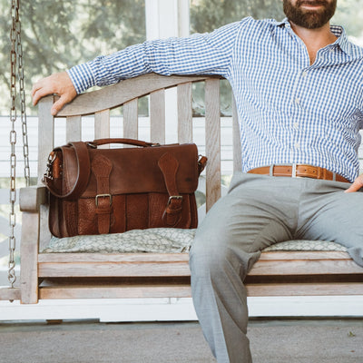 Ryder Reserve Bison Leather Briefcase | Brown