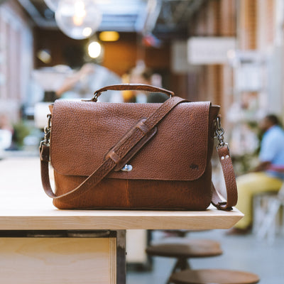 Ryder Reserve Bison Leather Laptop Messenger Bag | Brown hover