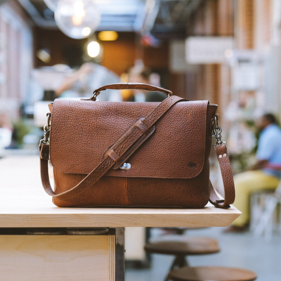 Ryder Reserve Bison Leather Messenger Bag - Brown