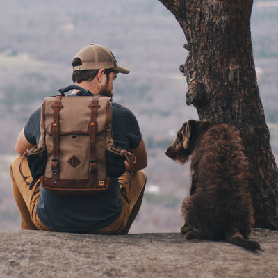 Rugged Canvas Commuter Backpack | Field Khaki w/ Chestnut Brown Leather hover