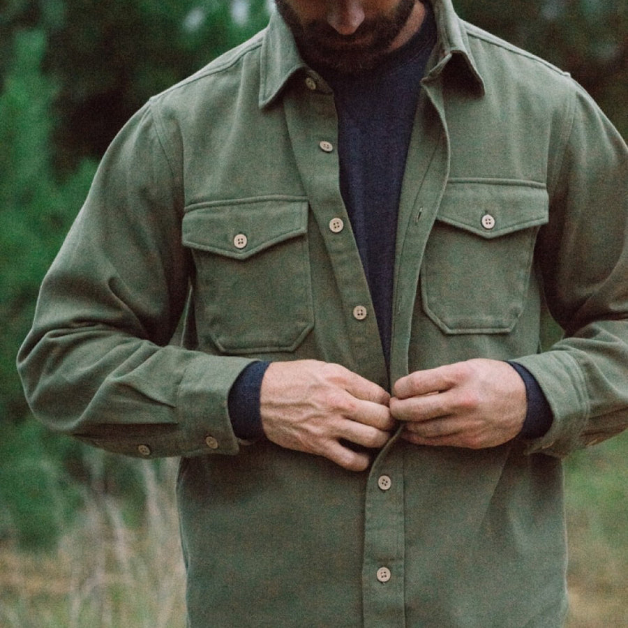 Gunner Cotton Twill Shirt Jac - Sage Brush Green