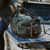 Elkton Waxed Canvas Travel Duffle Bag | Green w/ Dark Walnut Leather