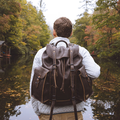 Dakota Leather Rucksack | Outdoors and Wilderness near the lake hover