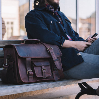 Classic Leather Briefcase Bag | Dark Oak