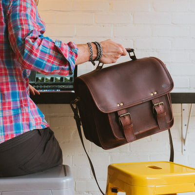 Men's Rugged Leather Camera Bag | Dark Oak hover