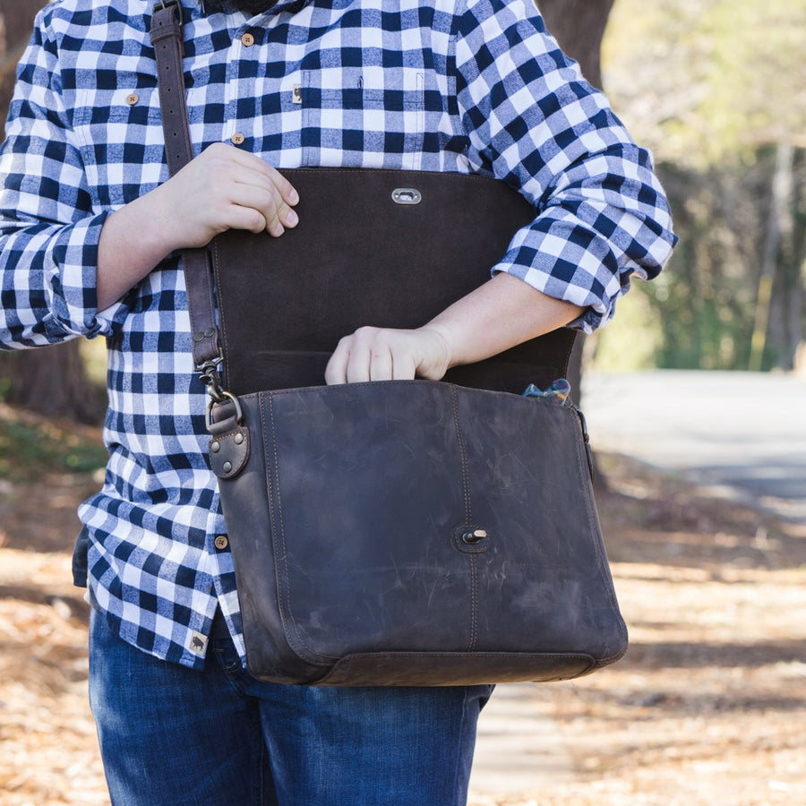 Denver Leather Messenger Bag - Dark Walnut