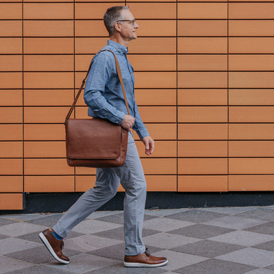 Men's modern Leather Messenger Bag | Amber hover