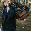 Dakota Waxed Canvas Duffle Bag/Backpack | Navy Charcoal w/ Saddle Tan Leather