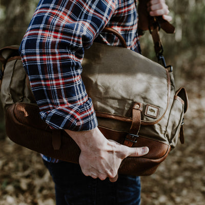 Men's Rugged Waxed Canvas Messenger Bag | Field Khaki w/ Chestnut Brown Leather hover