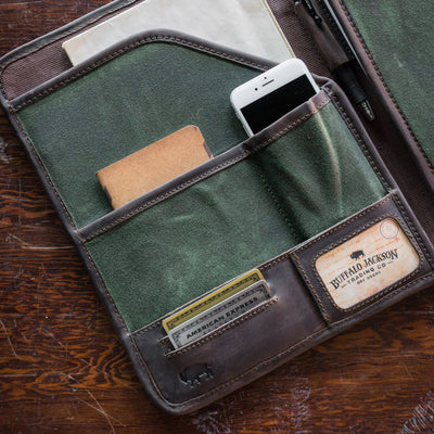Elkton Waxed Canvas Padfolio | Green w/ Dark Walnut Leather hover