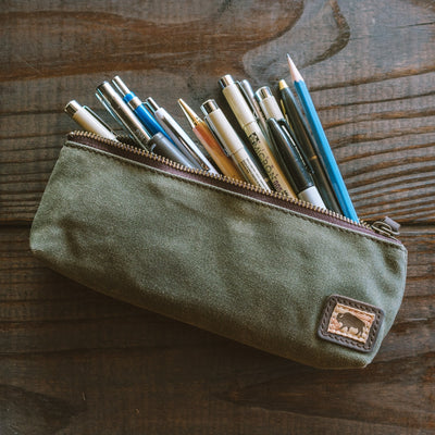 Elkton Waxed Canvas Zipper Pencil Pouch | Green hover