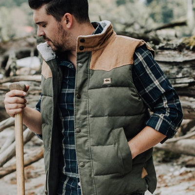 Jackson Vest w/ Sherpa Collar - Green and Khaki hover
