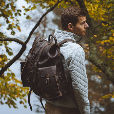 Dakota Leather Rucksack | Dark Brown hover