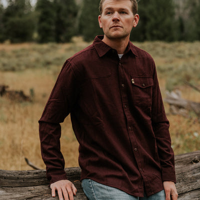 Men's Classic Wool Shirt Maroon hover
