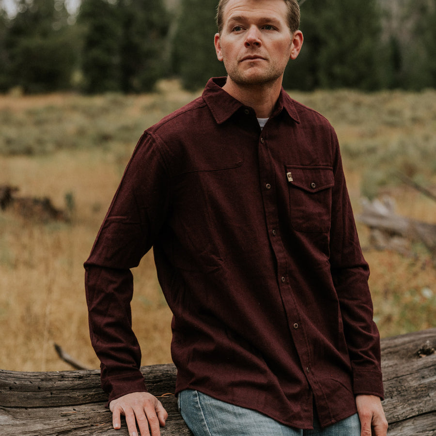 Men's Wool Blend Button Down fall shirt