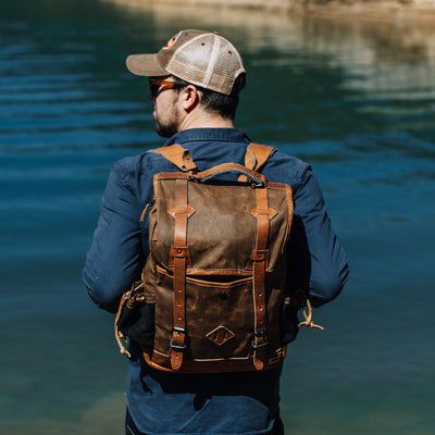 Rugged Brown Waxed Canvas Commuter Backpack